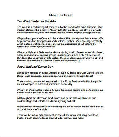 Event Proposal Templates   Free Pdf Download Documents  Free
