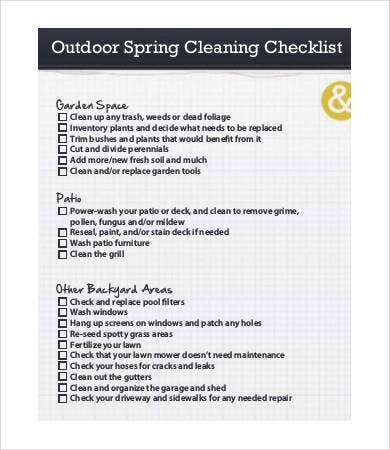 outdoor spring cleaning list