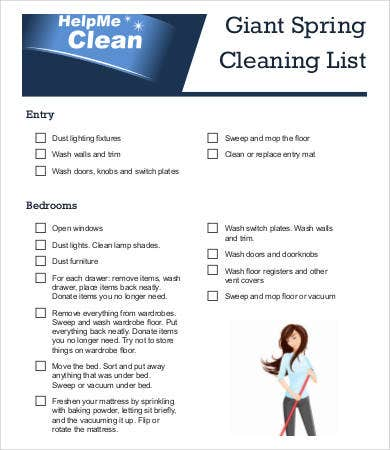 giant spring cleaning list