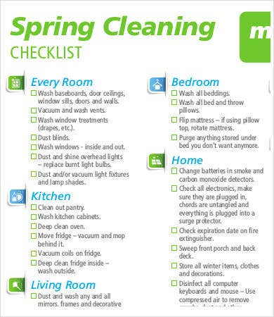 spring house cleaning list