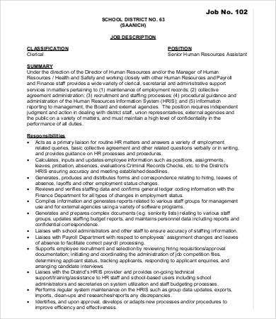 Human Resources Assistant Job Description  Free Word Pdf