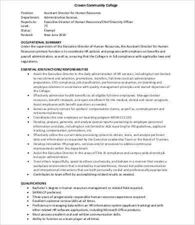 Human Resources Assistant Job Description - 9+Free Word, Pdf