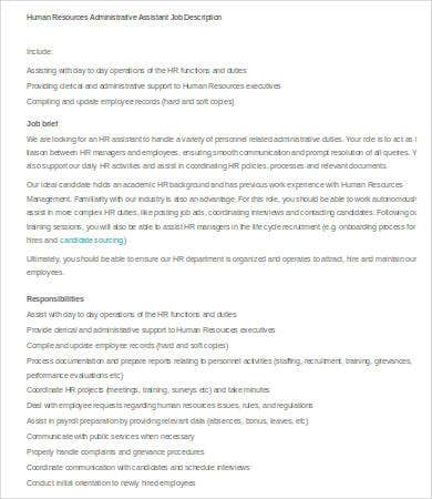 human resources administrative assistant job description