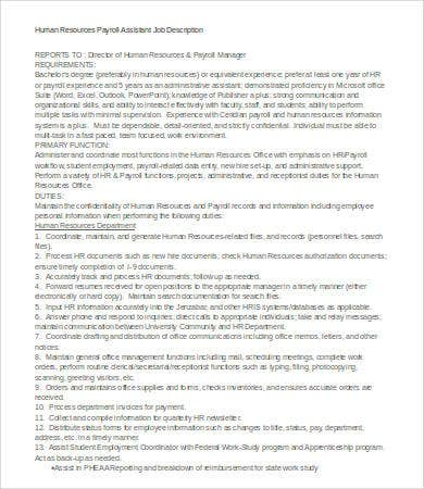 Payroll Manager Job Description Resume  Mesmerizing Job
