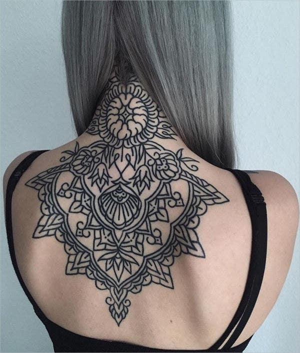 Geometric Flower back Tattoo