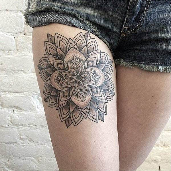 Geometric Flower Tattoo on thigh