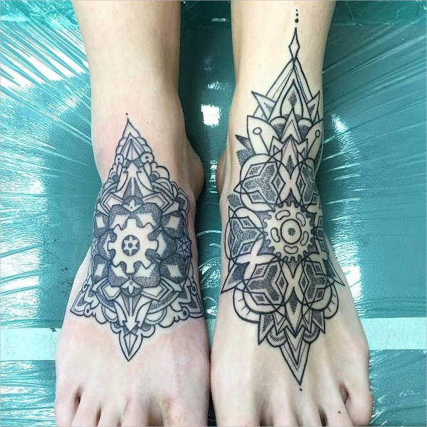 geometric mandala flower tattoo