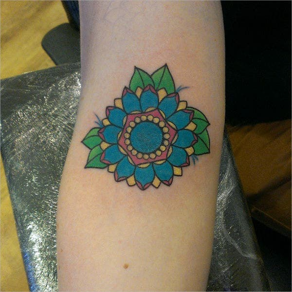 Small Geometric Flower Tattoo
