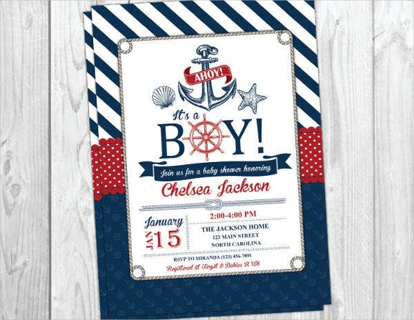nautical whale baby shower invitation