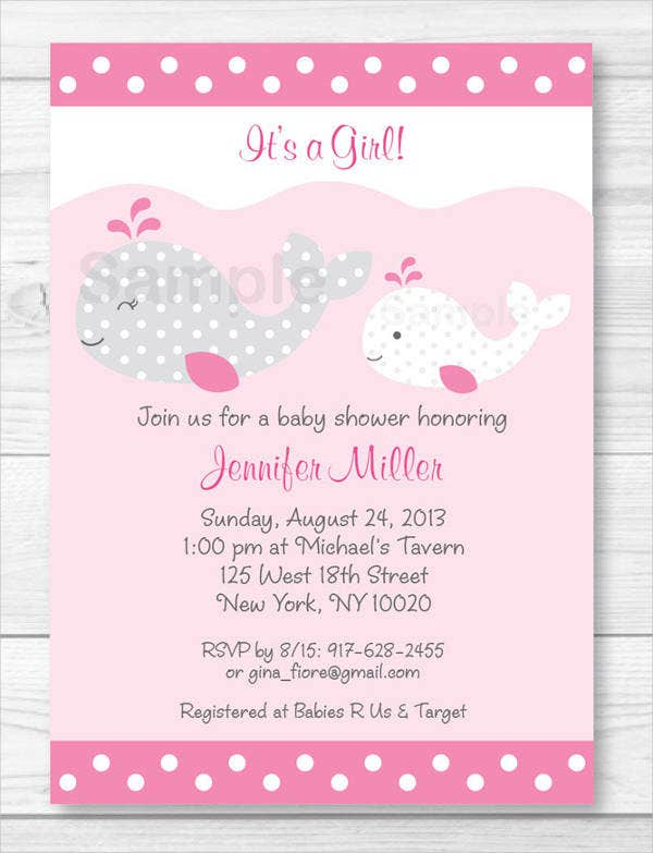 pink whale baby shower invitation