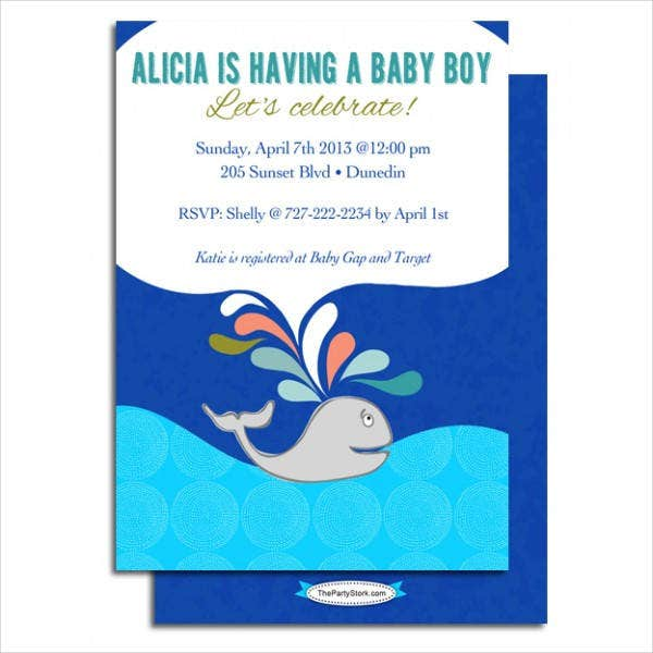 Printable Whale Baby Shower Invitation