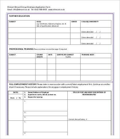 Employee Application Form   Free Word Pdf Documents Download
