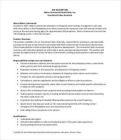 Real Estate Job Description   Free Word  Documents Download