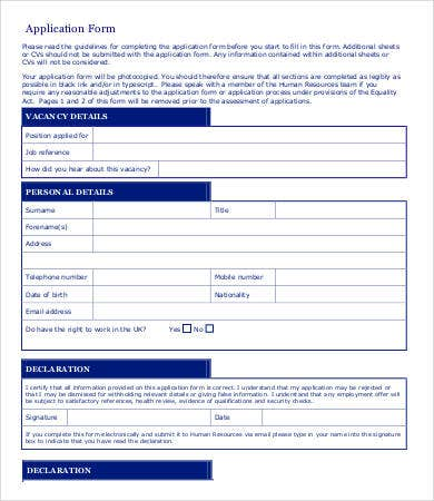 Employee Application Form 9 Free Word Pdf Documents