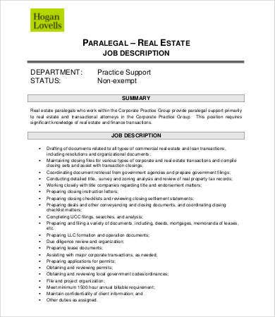 paralegal real estate job description