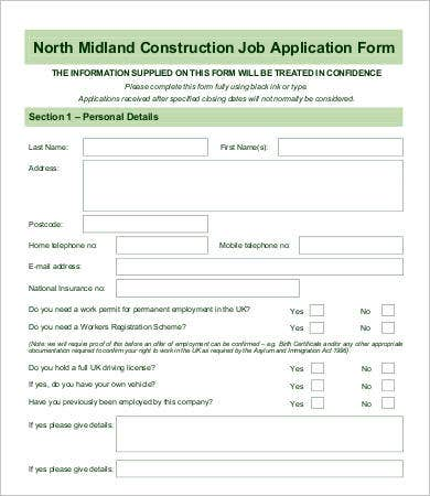 Construction Employee Application Form