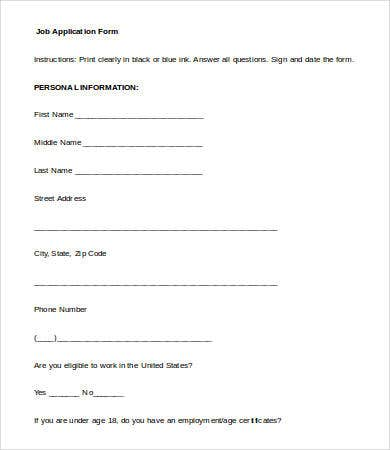 Standard Employee Application Form