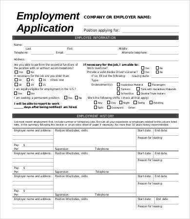 Blank Employee Application Form