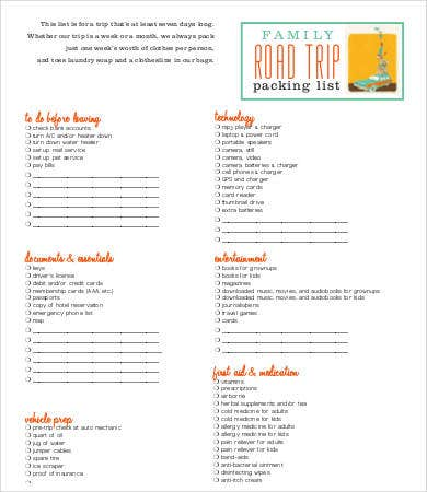 Packing Lists For Vacation  Free Word Pdf Documents Download