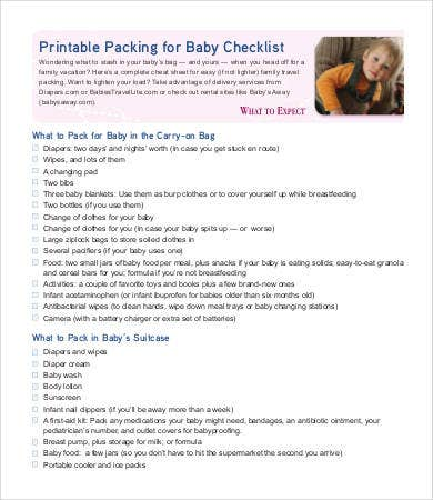 baby packing list for vacation