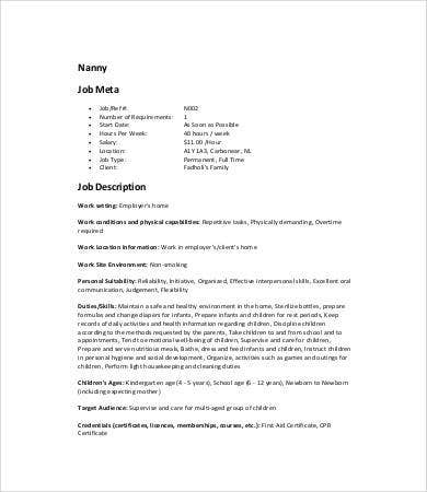 Nanny Job Description Templates   Free Word Excel Pdf Format