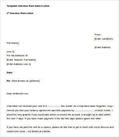 template overdue rent notice letter