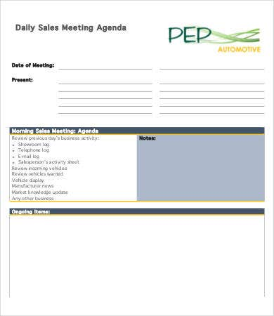 sales meeting agenda sample
