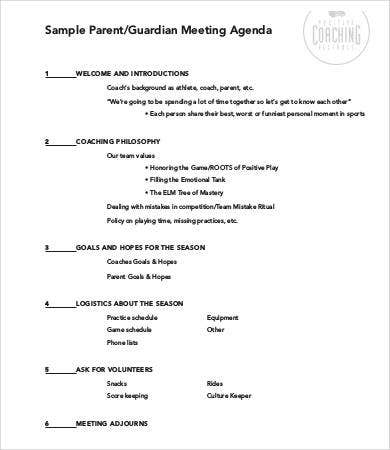 Meeting Agenda Samples  Free Sample Example Format  Free