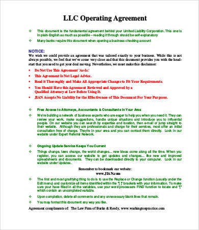 Operating Agreement Free Operating Agreement Sample Sample