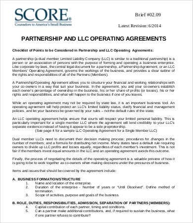 Operating Agreement Template 8 Free Word Pdf Documents Download