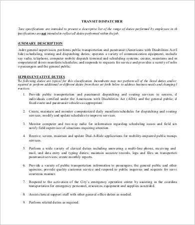 Dispatcher Job Description Templates  Pdf Doc  Free  Premium
