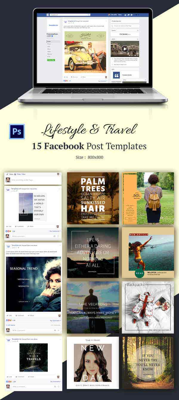 15 Travel & Lifestyle Facebook Templates Bundle
