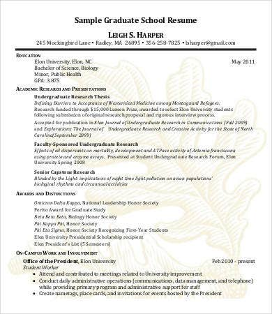 10+ High School Graduate Resume Templates  Sample Grad School Resume