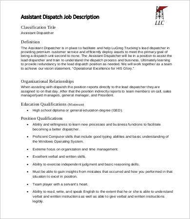 assistant dispatcher job description