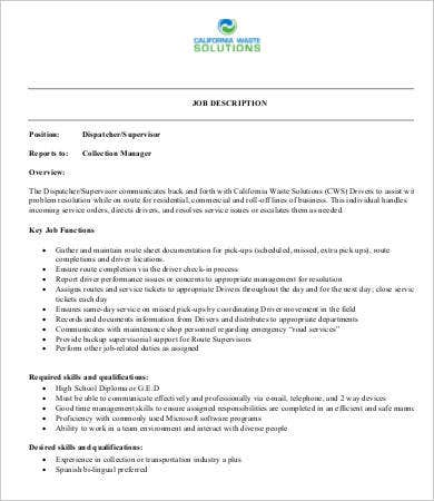 dispatch supervisor job description