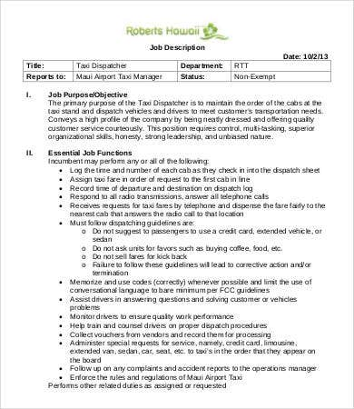 Dispatcher Job Description Templates - 9+ Free Pdf Format Download