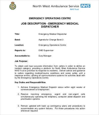 medical dispatcher job description