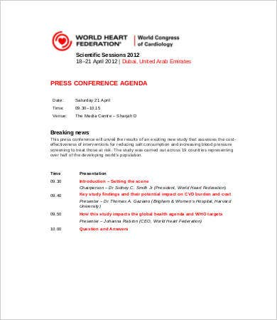 Conference Agenda Template   Free Word  Documents Download