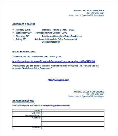 sales conference agenda template