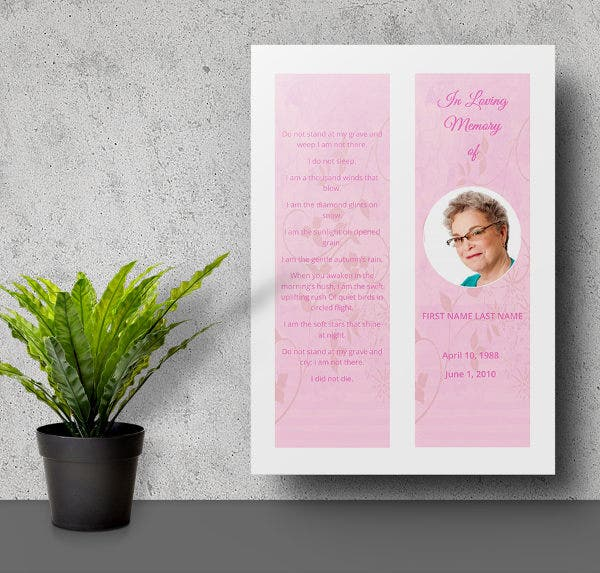 6 bookmark templates christian funeral memorial for Free memorial bookmark template download