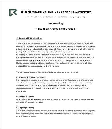 learning situation analysis template