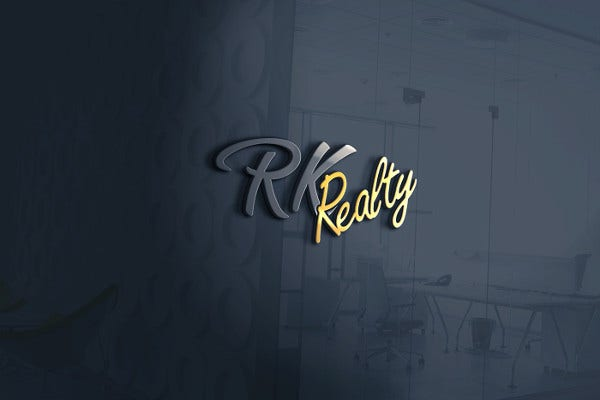 Typography Logo for RK Realty