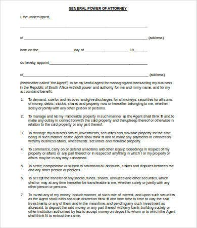 printable general power of attorney form  General Power of Attorney Form - 7+ Free Word, PDF Documents ...