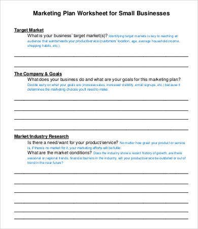Marketing Plan Worksheet Template For Small Businesses