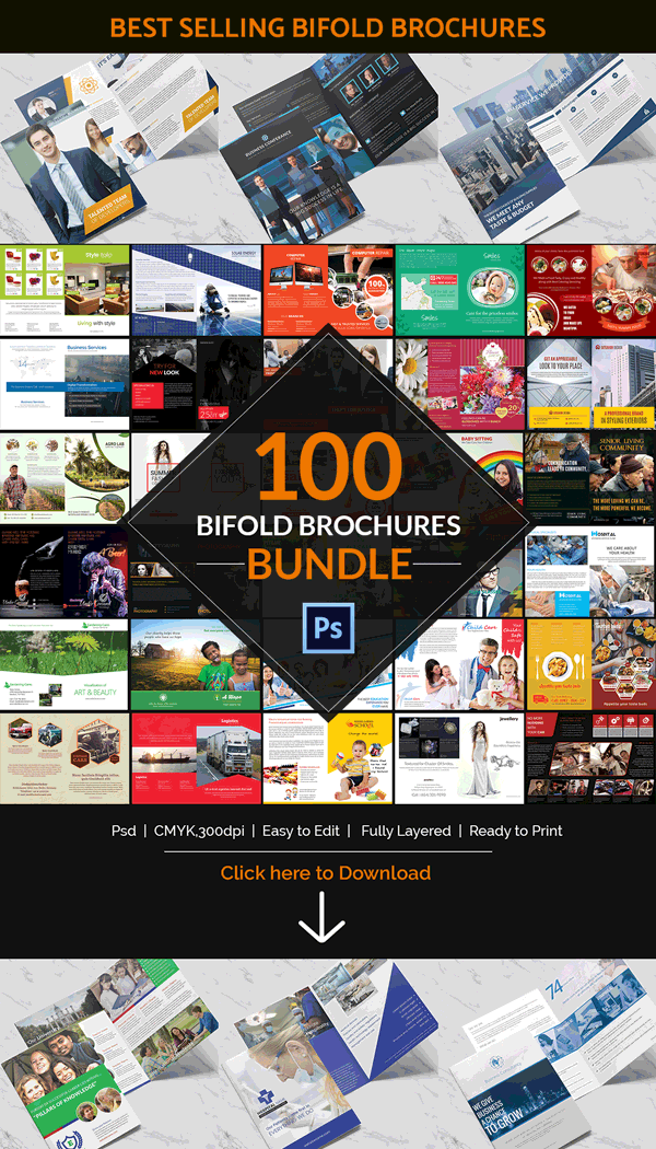 100 bi fold brochures bundle