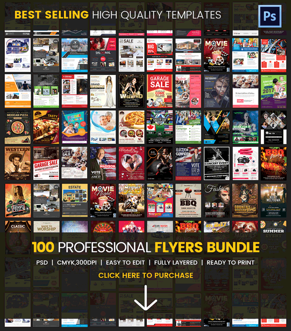 100 Professional Flyers Bundle