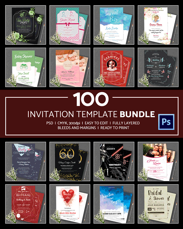 100 Invitation Templates Bundle