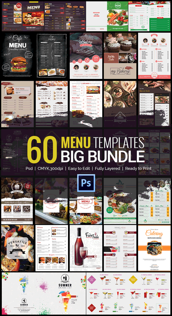 60 Menu Templates Bundle