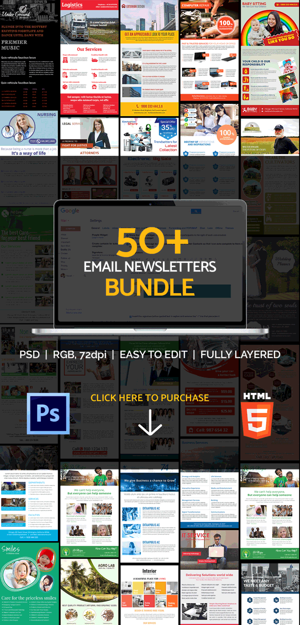 50 email newsletters bundle
