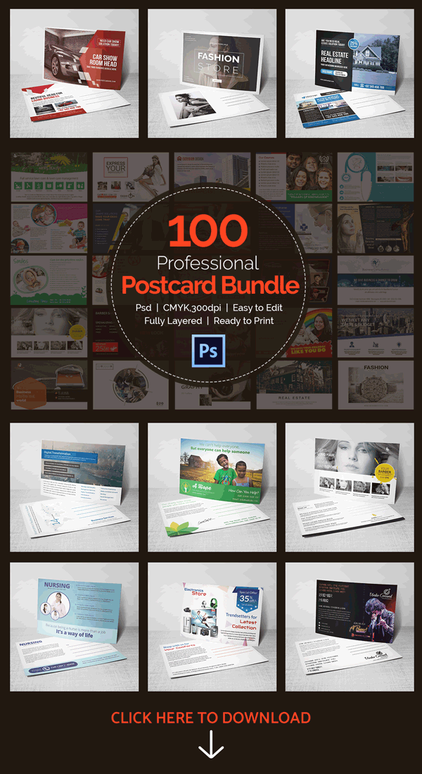 100 professional postcards bundle